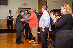 WATERBURY, CT. 17 July 2019-071719 - Waterbury Republican mayoral nominee Raymond Work, shakes the hand of Republican committee member Jeff Santopietro after speaking and accepting the nomination, during a Waterbury Republican Town Committee meeting of picking its slate of candidates for this years elections at the Ancient Order of Hibernians Club in Waterbury on Wednesday. Bill Shettle Republican-American