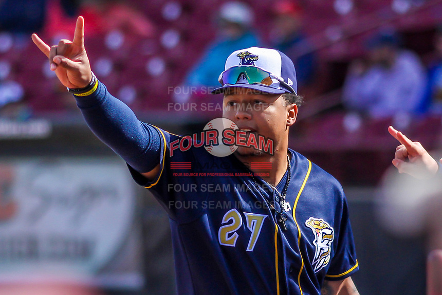 Wisconsin Timber Rattlers outfielder Leugim Castillo (27) during a Midwest League game against the Burlington Bees on April 28, 2019 at Fox Cities Stadium in Appleton, Wisconsin. Wisconsin defeated Burlington 5-4. (Brad Krause/Four Seam Images)