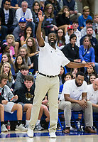 Lamont Frazier, Rogers head coach, reacts vs Bentonville West Tuesday, Jan. 14, 2020, at King Arena in Rogers.<br /> Go to http://bit.ly/2FVKUXz to see more photos.<br /> (NWA Democrat-Gazette/Ben Goff)