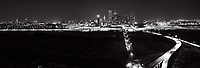 Dallas Skyline Pano After Dark BW - <br />