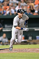 New York Yankees shortstop Derek Jeter #2 runs to first during a game against the Baltimore Orioles at Oriole Park at Camden Yards August 11, 2014 in Baltimore, Maryland. The Orioles defeated the Yankees 11-3. (Tony Farlow/Four Seam Images)