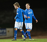 St Johnstone v St Mirren.....11.01.14   SPFL<br /> All smiles for Murray Davidson and Lee Croft at full time<br /> Picture by Graeme Hart.<br /> Copyright Perthshire Picture Agency<br /> Tel: 01738 623350  Mobile: 07990 594431