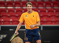 The Hague, The Netherlands, Februari 4, 2020,  Sportcampus , FedCup  Netherlands - Balarus, Dutch team practise, Captain Paul Haarhuis (NED)<br /> Photo: Tennisimages/Henk Koster