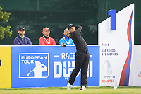Tom Lewis (ENG) on the 1st during Round 4 of the D+D Real Czech Masters at the Albatross Golf Resort, Prague, Czech Rep. 03/09/2017<br /> Picture: Golffile   Thos Caffrey<br /> <br /> <br /> All photo usage must carry mandatory copyright credit     (&copy; Golffile   Thos Caffrey)
