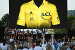 Team Ineos Grenadiers on stage at the team presentation before the Tour de France 2020, Nice, France. 27th August 2020.<br /> Picture: ASO/Alex Broadway | Cyclefile<br /> All photos usage must carry mandatory copyright credit (© Cyclefile | ASO/Alex Broadway)