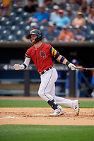 Toledo Mud Hens Dustin Peterson (23) at bat during an International League game against the Durham Bulls on July 16, 2019 at Fifth Third Field in Toledo, Ohio.  Durham defeated Toledo 7-1.  (Mike Janes/Four Seam Images)