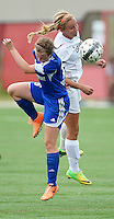 Oregon's Kelsey Jahn heads the ball over Green Bay Southwest's Elizabeth Cumber, as Oregon tops Green Bay Southwest 3-0 to win the WIAA Division 2 girls soccer state championship, on Saturday, June 20, 2015 at Uihlein Soccer Park in Milwaukee, Wisconsin