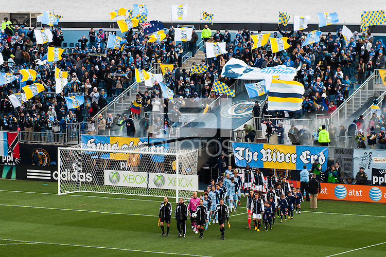 Teams enter the field prior to the start of the match. Sporting Kansas City defeated the Philadelphia Union 3-1 during a Major League Soccer (MLS) match at PPL Park in Chester, PA, on March 2, 2013.