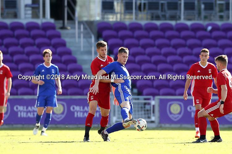 Orlando, Florida - Monday January 15, 2018: Mac Steeves and Leon Schwarzer. Match Day 2 of the 2018 adidas MLS Player Combine was held Orlando City Stadium.