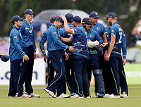 Joe Denly of Kent is mobbed after capturing the wicket of C Ingram during the Royal London One Day Cup game between Kent and Glamorgan at the St Lawrence Ground, Canterbury, on May 25, 2018