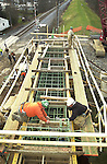Market Street Bridge construction, Williamsport, PA. Rebar piling frame.