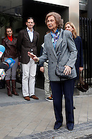 ATENCAO EDITOR IMAGEM EMBARGADA PARA VEICULOS INTERNACIONAIS - MADRI, ESPANHA, 25 NOVEMBRO 2012 - REI JUAN CARLOS HOSPITAL - A rainha Sofia apos visita ao rei da Espanha Juan Carlos que passou por uma cirurgia de quadril realizado no Hospital San Jose, em Madri capital da Espanha, neste domingo, 25. (FOTO: ALFAQUI / BRAZIL PHOTO PRESS).