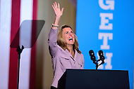 Philadelphia, PA - September 27, 2016: Katie McGinty, candidate for U.S. Senate, waves to supporters in the balcony during a campaign stop to support Hillary Clinton's presidential campaign at Drexel University in Philadelphia, Pennsylvania, September 27, 2016.  (Photo by Don Baxter/Media Images International)