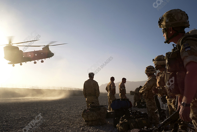 Gurkhas of A Co. 1RGR and other British soldiers leaving Tarin Kowt after an operation in the Baluchi Valley, Uruzgan Province, Afghanistan, November 2007.