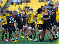 Players practise their dance moves during the Super Rugby match between the Hurricanes and Sharks at Sky Stadium in Wellington, New Zealand on Saturday, 15 February 2020. Photo: Dave Lintott / lintottphoto.co.nz