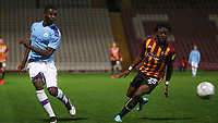 Yeboah Amankwah of Man City and Aramide Oteh of Bradford City during the The Leasing.com Trophy match between Bradford City and Manchester City U21 at the Utilita Energy Stadium, Bradford, England on 24 September 2019. Photo by Thomas Gadd.