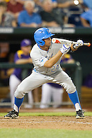 UCLA Bruin outfielder Brian Carroll (24) squares to bunt during Game 4 of the 2013 Men's College World Series against the LSU Tigers on June 16, 2013 at TD Ameritrade Park in Omaha, Nebraska. UCLA defeated LSU 2-1. (Andrew Woolley/Four Seam Images)