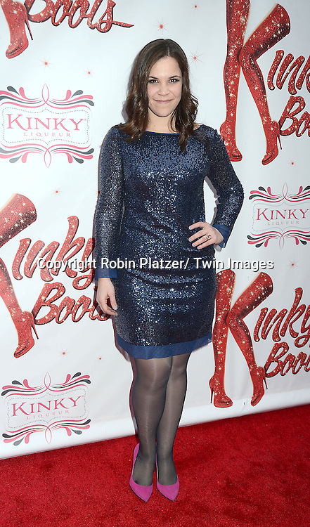 "arrives at the ""Kinky Boots"" Broadway Opening on April 4, 2013 at The Al Hirschfeld Theatre in New York City. Harvey Fierstein wrote is the Book Writer and Cnydi Lauper is the Composer."