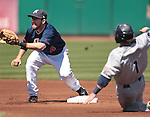 Reno Aces shortstop Talor Harbin makes the tag on Tuscon Padres' Daniel Robertson during a minor league baseball game in Reno, Nev. on Monday, Sept. 3, 2012. The Aces won 2-1..Photo by Cathleen Allison