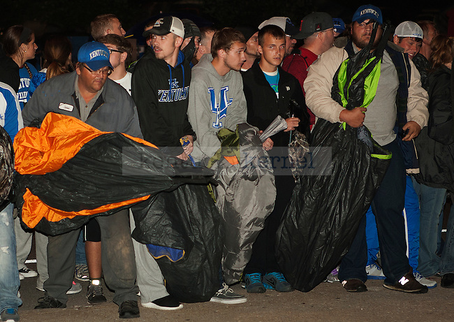 UK fans line up at 5am to reserve their camping spot for Big Blue Madness in Lexington, Ky.,on Wednesday, September 17, 2014. Photo by Michael Reaves | Staff