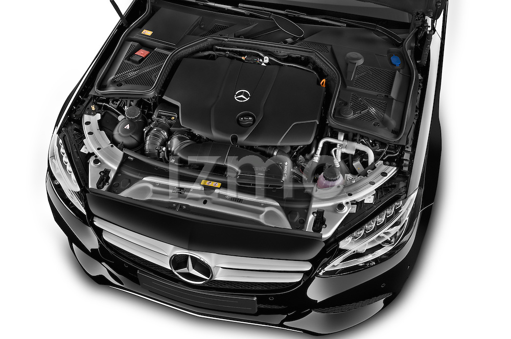 Car Stock 2014 Mercedes Benz C-CLASS Avantgarde 5 Door Wagon 2WD Engine high angle detail view