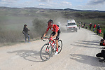 Christopher Hamilton (AUS) Team Sunweb on sector 8 Monte Santa Maria during Strade Bianche 2019 running 184km from Siena to Siena, held over the white gravel roads of Tuscany, Italy. 9th March 2019.<br /> Picture: Eoin Clarke | Cyclefile<br /> <br /> <br /> All photos usage must carry mandatory copyright credit (© Cyclefile | Eoin Clarke)