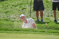 Paul Casey (ENG) hits from the trap on 15 during 2nd round of the World Golf Championships - Bridgestone Invitational, at the Firestone Country Club, Akron, Ohio. 8/3/2018.<br />