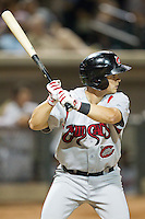 Todd Hankins (8) of the Carolina Mudcats at bat against the Winston-Salem Dash at BB&T Ballpark on June 6, 2014 in Winston-Salem, North Carolina.  The Mudcats defeated the Dash 3-1.  (Brian Westerholt/Four Seam Images)
