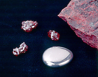 MERCURY & CINNABAR<br /> Elemental form & HgS (Mercury sulfide chief ore of mercury) both in rare crystal form and granular massive form