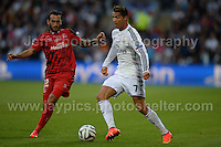 Cardiff City Stadium, Cardiff, South Wales - Tuesday 12th Aug 2014 - UEFA Super Cup Final - Real Madrid v Sevilla - <br /> <br /> Sevilla&rsquo;s Aleix Vidal parreu is about to challenge Real Madrid&rsquo;s Christiano Ronaldo. <br /> <br /> <br /> <br /> <br /> Photo by Jeff Thomas/Jeff Thomas Photography
