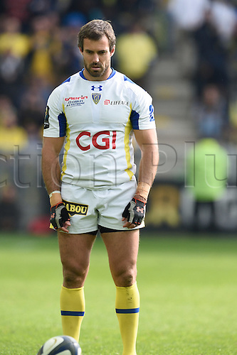 18.04.2015. Clermont-Ferrand, Auvergne, France. Champions Cup rugby semi-final between ASM Clermont and Saracens.   Brock James (asm) lines up the conversion