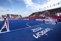 4.09.2012 London, England. A general view of the Riverbank Arena during the Men's Football 5-a-side Preliminaries Pool B match between France and Turkey during Day 5 of the London Paralympics from the Riverbank Arena