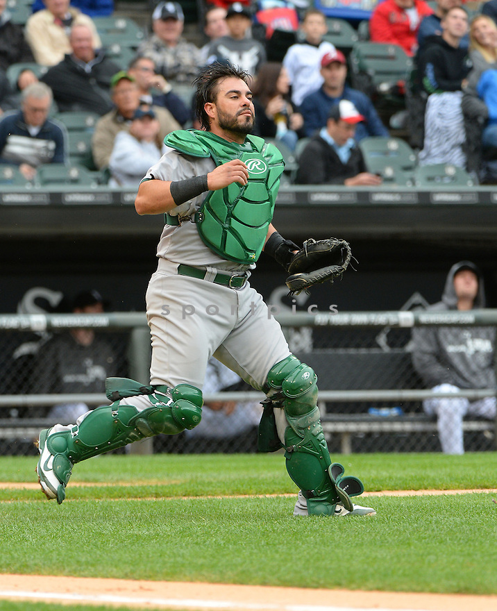 Oakland A's Geovany Soto (17) during a game against the Chicago White Sox on September 11, 2014 at US Cellular Field in Chicago, IL. The Sox beat the A's 1-0.