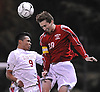 Ryan Prendergast #10 of South Side, right, heads a ball away from Andres Mejia #9 of Glen Cove during the Nassau County varsity boys soccer Class A final at Hofstra University on Wednesday, Nov. 2, 2016.