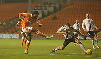 Blackpool's Nathan Delfouneso shoots past Charlton Athletic's Jason Pearce to score his side's second goal <br /> <br /> Photographer Stephen White/CameraSport<br /> <br /> The EFL Sky Bet League One - Blackpool v Charlton Athletic - Saturday 8th December 2018 - Bloomfield Road - Blackpool<br /> <br /> World Copyright &copy; 2018 CameraSport. All rights reserved. 43 Linden Ave. Countesthorpe. Leicester. England. LE8 5PG - Tel: +44 (0) 116 277 4147 - admin@camerasport.com - www.camerasport.com