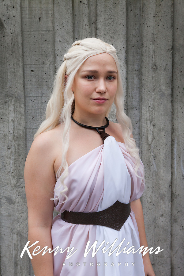 Beautiful Blonde Girl wearing Pink & White Toga, Emerald City Comicon, Seattle, WA, USA.