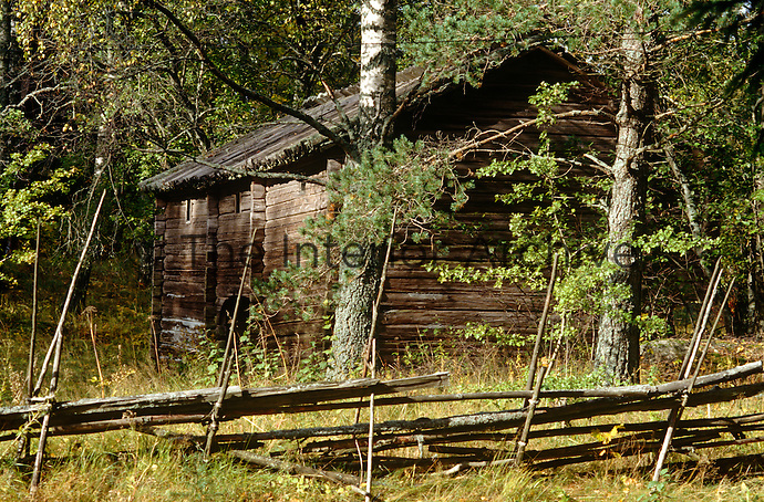 A traditional Finnish log cabin is sheltered by a fence made of rough branches