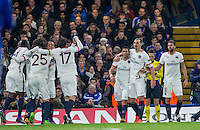 Celebrations as Adrien Rabiot (25) of Paris Saint-Germain slots to make it 1-0 during the UEFA Champions League Round of 16 2nd leg match between Chelsea and PSG at Stamford Bridge, London, England on 9 March 2016. Photo by Andy Rowland.