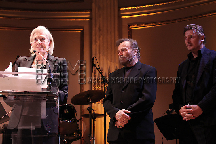 Vanessa Redgrave with Franco Nero & Liam Neeson attends the American Theatre Wing's annual gala at the Plaza Hotel on Monday Sept. 24, 2012 in New York.