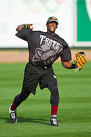 Victor Roache (28) of the Wisconsin Timber Rattlers during fielding practice prior to the game against the Great Lakes Loons at the Dow Diamond on May 4, 2013 in Midland, Michigan.  The Timber Rattlers defeated the Loons 6-4.  (Brian Westerholt/Four Seam Images)
