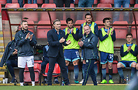 Wycombe Wanderers Manager Gareth Ainsworth & the bench join applause for Lifelong Orient supporter Frankie Bish who recently passed away during the Sky Bet League 2 match between Leyton Orient and Wycombe Wanderers at the Matchroom Stadium, London, England on 1 April 2017. Photo by Andy Rowland.