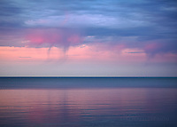 Sunset, Virga, over, Lake Superior