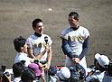 (L-R) Kaito Arai, Kona Takahashi (Maebashi Ikuei),<br /> AUGUST 22, 2013 - Baseball :<br /> Kaito Arai and Kona Takahashi of Maebashi Ikuei are interviewed after winning the 95th National High School Baseball Championship Tournament final game between Maebashi Ikuei 4-3 Nobeoka Gakuen at Koshien Stadium in Hyogo, Japan. (Photo by Toshihiro Kitagawa/AFLO)