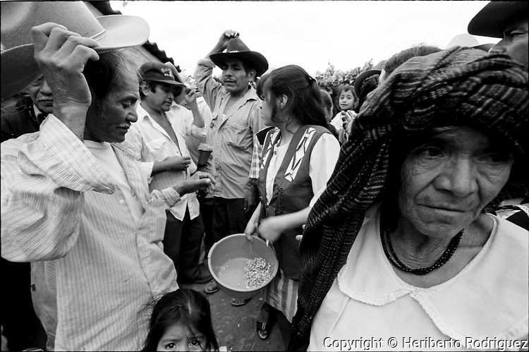 A Zapotec Native villagers arrive at a wedding ceremony in Coatecas Altas village, Oaxaca, November 22, 1998. Most of the villagers of Coatecas leave their home to harvest in northern state of Sinaloa.  © Photo by Heriberto Rodriguez