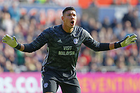 Neil Etheridge of Cardiff City protests to referee Robert Jones during the Sky Bet Championship match between Swansea City and Cardiff City at the Liberty Stadium, Swansea, Wales, UK. Sunday 27 October 2019