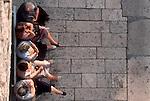 Croatia, Dubrovnik, UNESCO World Heritage Site, Croatia, Adriatic Sea, Europe, Grandmothers, The Stradun, Marble street, old town, elderly women catch the last of the sun and gossip. ..