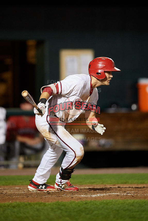 Harrisburg Senators left fielder Alec Keller (34) follows through on a swing during a game against the Erie SeaWolves on August 29, 2018 at FNB Field in Harrisburg, Pennsylvania.  Harrisburg defeated Erie 5-4.  (Mike Janes/Four Seam Images)