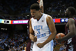 14 November 2014: North Carolina's Kennedy Meeks reacts after scoring a basket while being fouled. The University of North Carolina Tar Heels played the North Carolina Central University Eagles in an NCAA Division I Men's basketball game at the Dean E. Smith Center in Chapel Hill, North Carolina. UNC won the game 76-60.