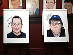 Michael Mayer and Michael Moore portraits during the Michael Moore And Michael Mayer portrait unveilings as the join the Wall of Fame at Sardi's on September 21, 2017 at Sardi's in New York City.