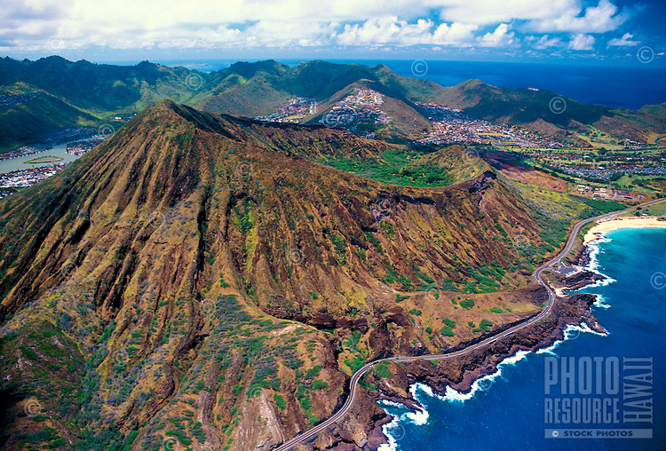 An aerial photo of Koko Head Crater. A once active, but now extinct, volcano  located along oahu's eastern coastline on Kalanianaola highway nearest Hanauma Bay and Halona Blowhole.